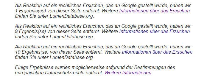 Google weist auf Zensur hin